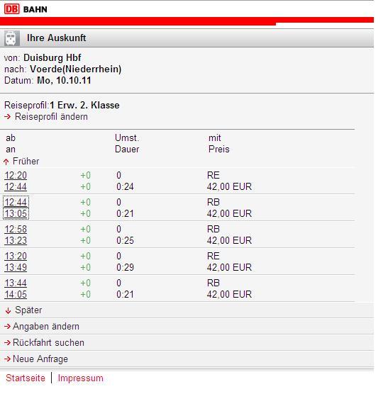 Preisauskunft mobil.bahn.de am 10.10.2011