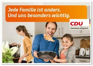 Wahlplakat der CDU zum Thema Familie, Quelle: http://www.designtagebuch.de/die-plakate-zur-bundestagswahl-2013-teil-2/18-1_1ste-welle_familie/