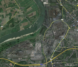 Das Areal der Fa. Thyssen, Screenshot aus Google Earth