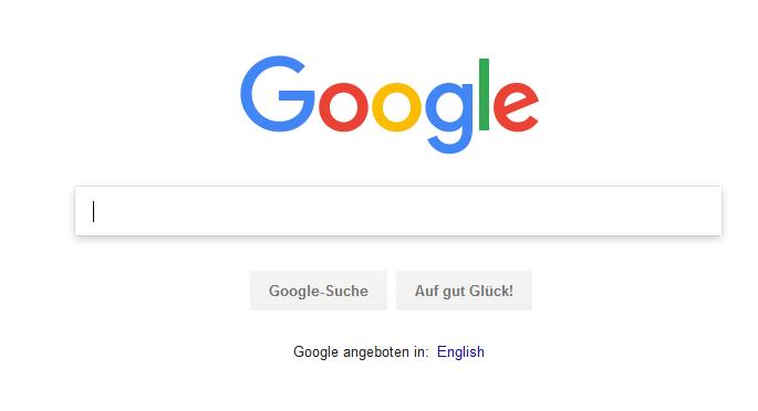 Screenshot der Suchmaske auf Google.com, aufgerufen am 21.05.2018