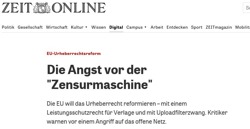 Screenshot der Website der Zeit, 18.06.2018; 08:15 Uhr