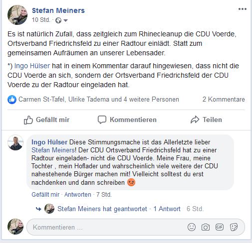 Screenshot des Kommentars von Ingo Hülser Facebook 14.09.19 19.09 Uhr