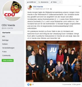 Screenshot der CDU Voerde Facebook-Seite am 17.09.2019 um 13:45