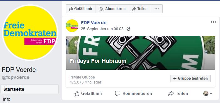 Screenshot von der FDP Voerde - Facebookseite am 28.09.2019 um 18:00