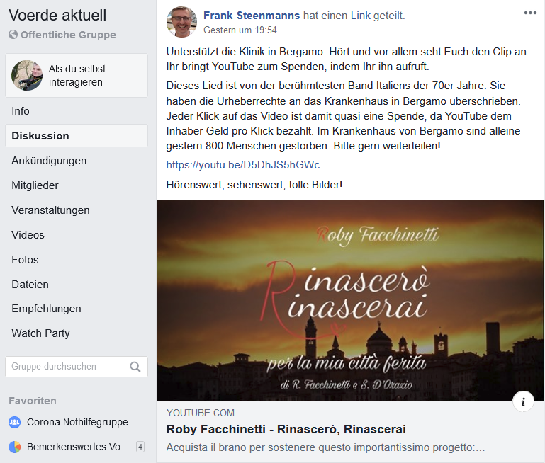 Screenshot Facebook 30.05.2020 22:15 Uhr