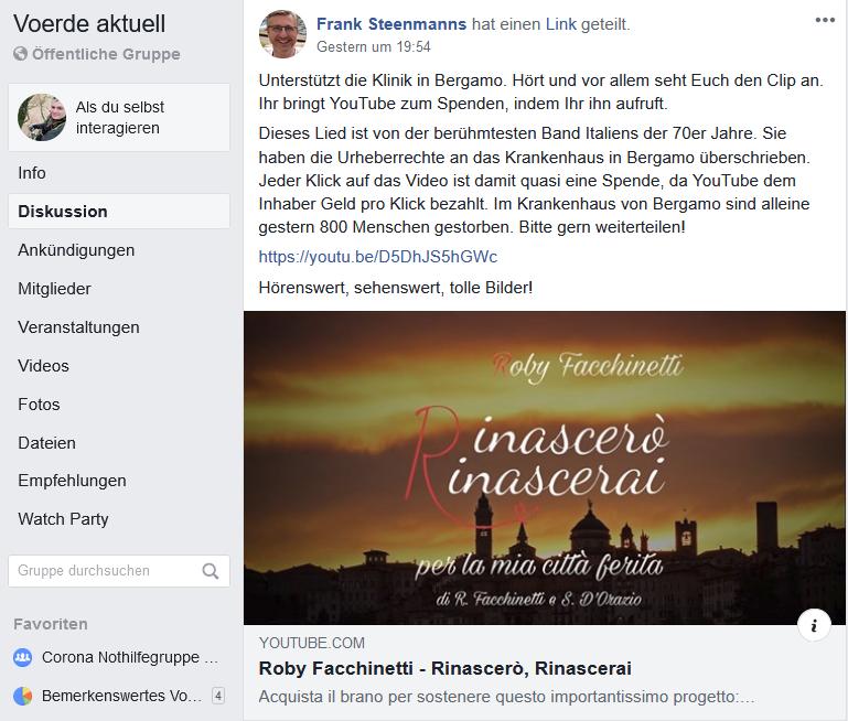 Screenshot Facebook 30.05.2020 22:15 Uhr