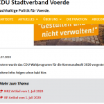 Screenshot der CDU-Voerde-Website, 08.07.2020