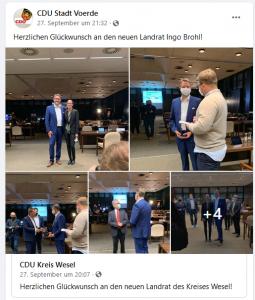 Screenshot der FB-Seite der CDU Voerde, 25.10.2020 12:00
