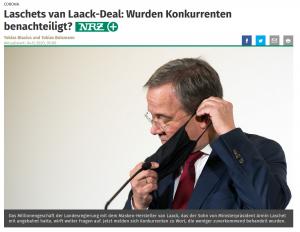 Screenshot NRZ vom 04.12.2020, URL https://www.nrz.de/politik/landespolitik/laschets-van-laack-deal-wurden-konkurrenten-benachteiligt-id231067368.html