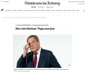 Artikel der SZ, Screenshot vom 04.12.2020, URL https://www.sueddeutsche.de/politik/coronakrise-masken-nrw-1.5134273